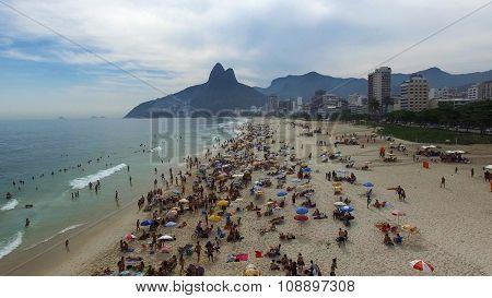 RIO DE JANEIRO, BRAZIL - CIRCA NOVEMBER 2015: Aerial View of Crowd of People in a Beach, Rio de Janeiro, Brazil