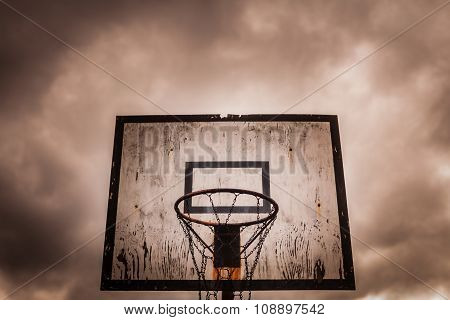 Old disused outdoor basketball hoop