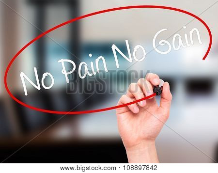 Man Hand writing No Pain No Gain with black marker on visual screen.