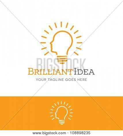 light bulb shaped like human head outline for creative business or website