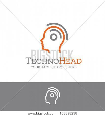 logo of combined head and wifi symbol for tech related business, website