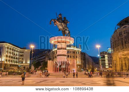 Alexander the Great fountain in Skopje