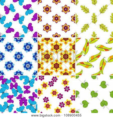 Set Colorful Floral Patterns