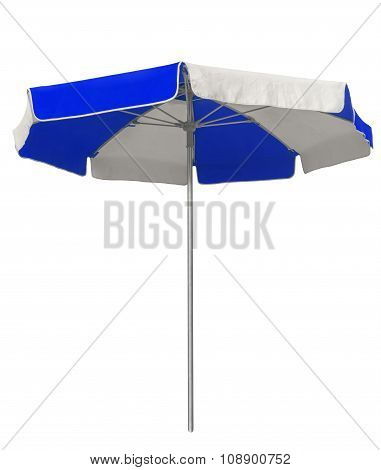 Beach Umbrella With Dark Blue And White Stripes