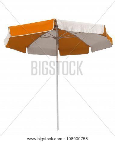 Beach Umbrella With Orange And White Stripes