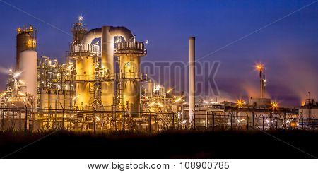 Landscape Overview Heavy Industrial Chemical Factory At Night