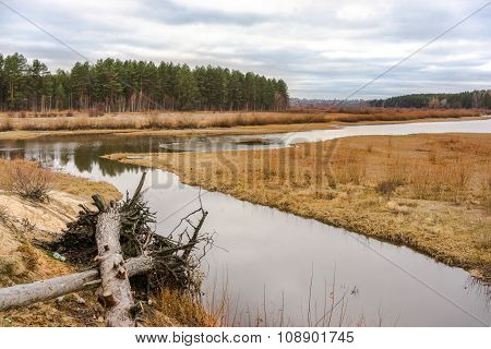 Landscape Of The Siberian Small River In Autumn
