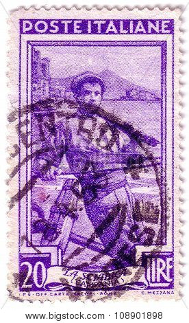 Italy - Circa 1950: A Stamp Printed In Italy, Shows Fisherman, Series Work Of Italians, Circa 1950
