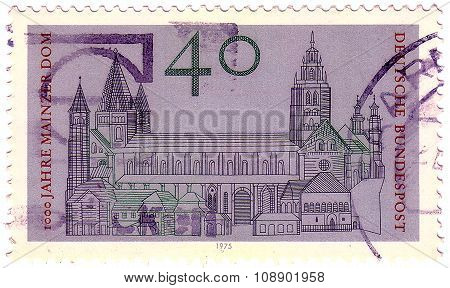 Gdr- Circa 1975: A Stamp Printed In The Germany Shows Cathedral Of Mainz, St. Martin's Cathedral, Mi