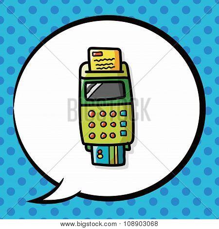 Credit Card Machine Color Doodle