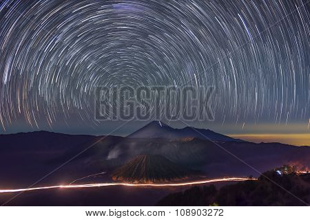 Star trails over Bromo Mountain Java ,Indonesia.