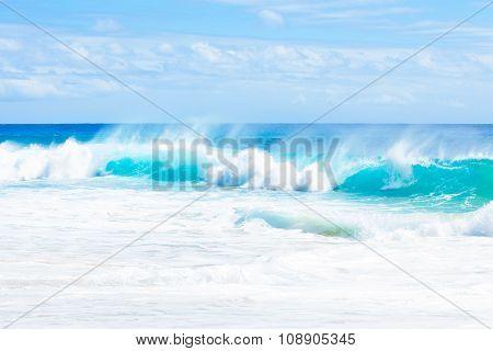 Beautiful Blue Aqua Green Ocean Waters Along Hawaiian Coast