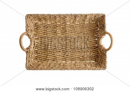 Overhead View Of A Wicker Tray With Handles