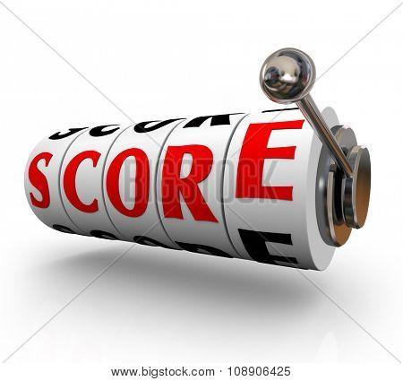 Score word on 3d slot machine wheels or dials to illustrate or count your total winnings, amount, review, outcome or result