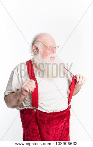 Laughing Santa With Red Suspenders