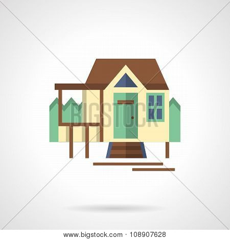 Tourist house flat color vector icon