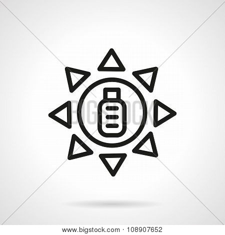 Solar battery charge black line vector icon