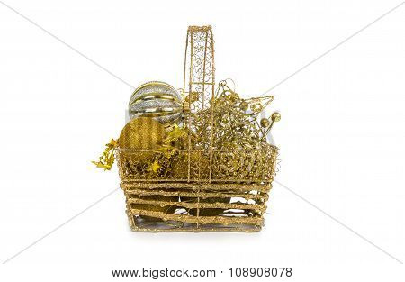 Golden Basket With Christmas Decorations