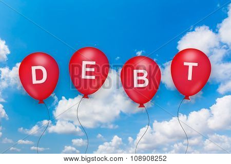 Debt Or Loan Text On Balloon