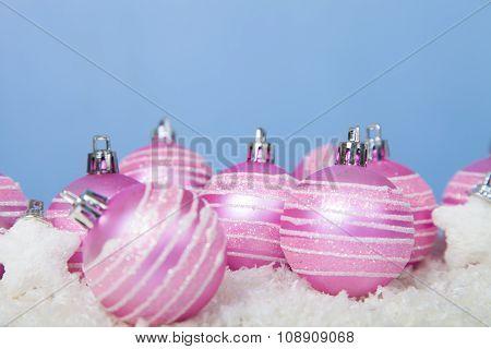 Pink Balls On The Snow