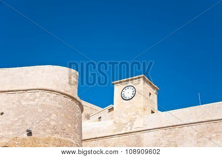 The Walls Of The Fortress Of Victoria, Rabat, With The Clock, Gozo, Malta