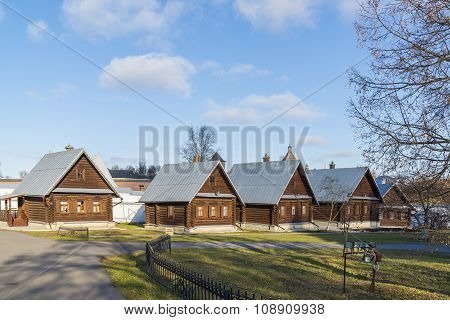 Suzdal, Russia -06.11.2015. The cells of the nuns at the St. Pokrovsky nunnery. Golden Ring Travel