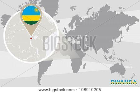 World Map With Magnified Rwanda