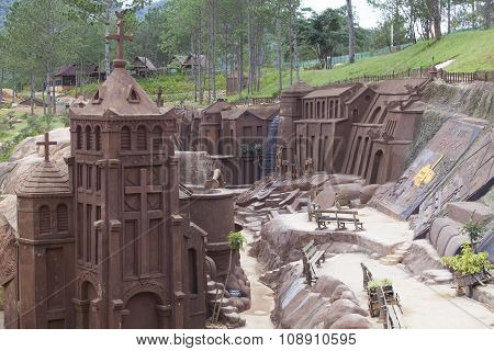 View of architectural art site on clay with European Gothic style