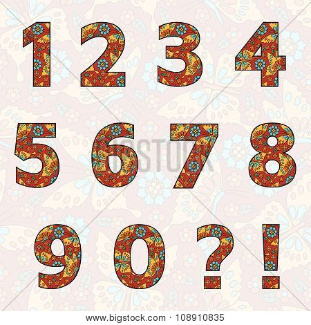 Set of numbers with flowers and butterflies (you can change all colors for your design). Good for in