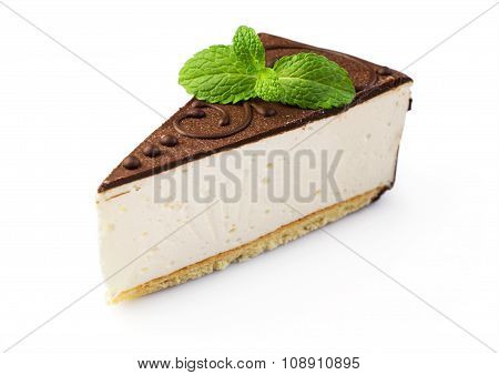 Piece Of Cheesecake With Chocolate