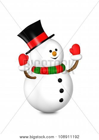 3D Rendered Snowman Looks Up Isolated Over White