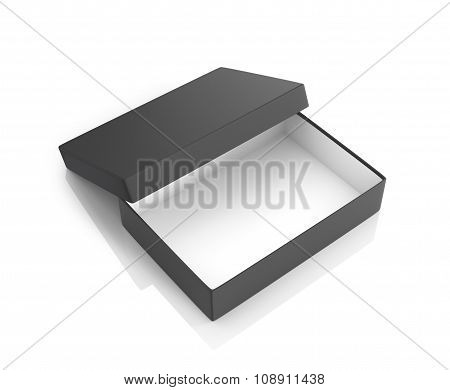 Open Black Paper Box On A White Background.