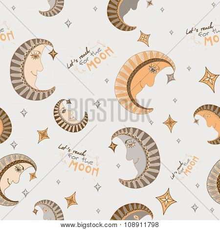 Cartoon Seamless Pattern With Moon And Stars In Pastel Colors