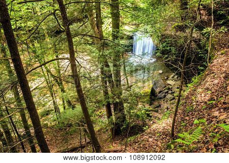 Top view of Dog Slaughter Falls in the Daniel Boone National Forest in Southern Kentucky