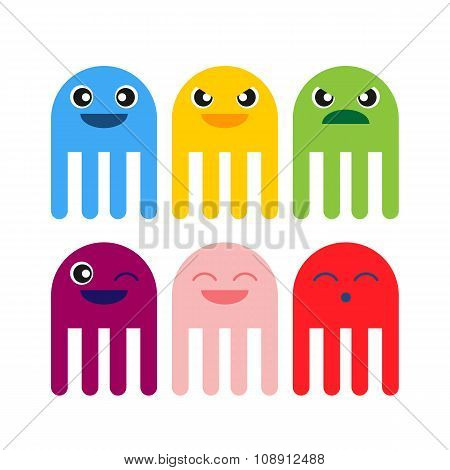Color Cute Jellyfish Smiling Icon
