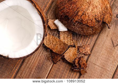 Coconut, Broken And Open Ready For Eating