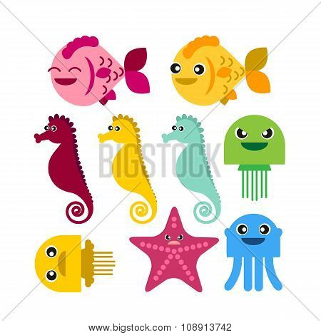 Colorful Seahorse Fish Jellyfish Starfish