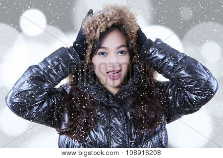 Closeup Of Girl In Winter Clothing