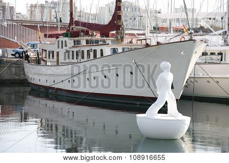 White Sculpture On The Buoy, Port Vell, Barcelona