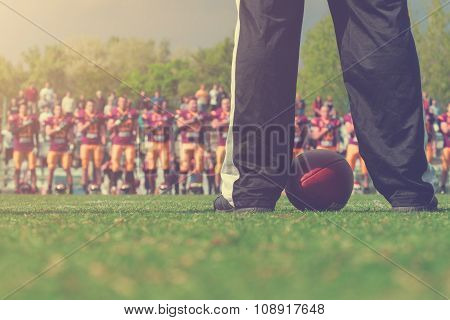 American football referee - seconds before the game starts.