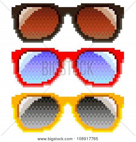 Pixel Sun glasses Isolated Vector