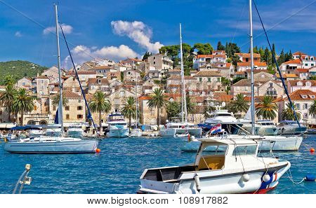 Hvar Waterfront Sailing Harbor In Dalmatia