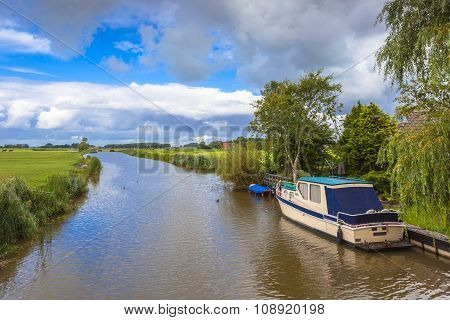 Water sports canal boat in Friesland Netherlands