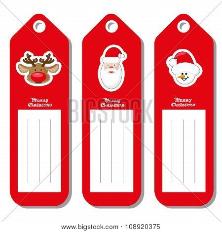 Set Vectors Pattern For Label Christmas Type With Face Santa Claus, Deer And Snowman Isolated On Whi