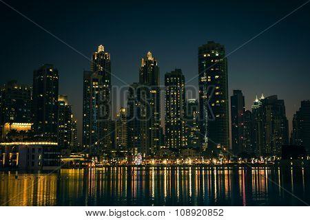 Night Cityscape Of Dubai City, United Arab Emirates