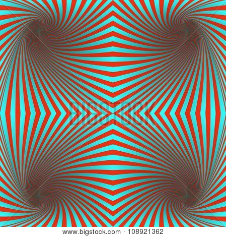 Seamless red and cyan hypnotic spiral pattern