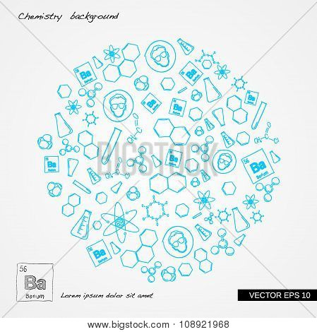 Hand draw chemistry in circle on abstract polygon background
