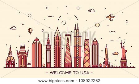 USA skyline silhouette illustration linear style