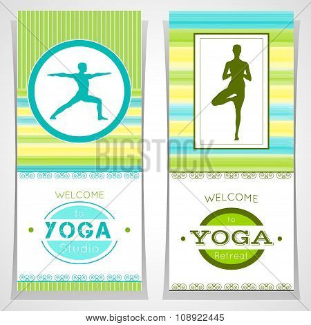 Vector Yoga Illustration. Yoga Posters With Watercolor Texture And Yogi Silhouette.