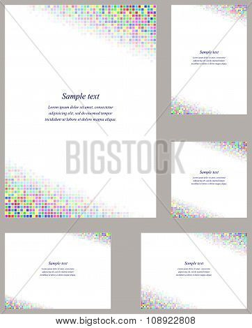 Colorful mosaic page corner design template set